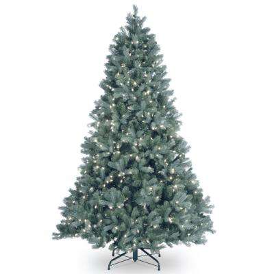 7 ft. Feel Real Downswept Douglas Blue Fir Hinged Tree with 700 Clear Lights