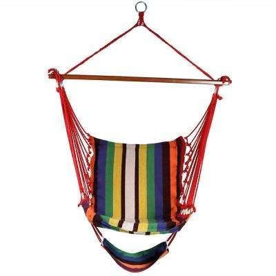 3.5 ft. Fabric Hanging Soft Cushioned Hammock Chair with Footrest in Sunset
