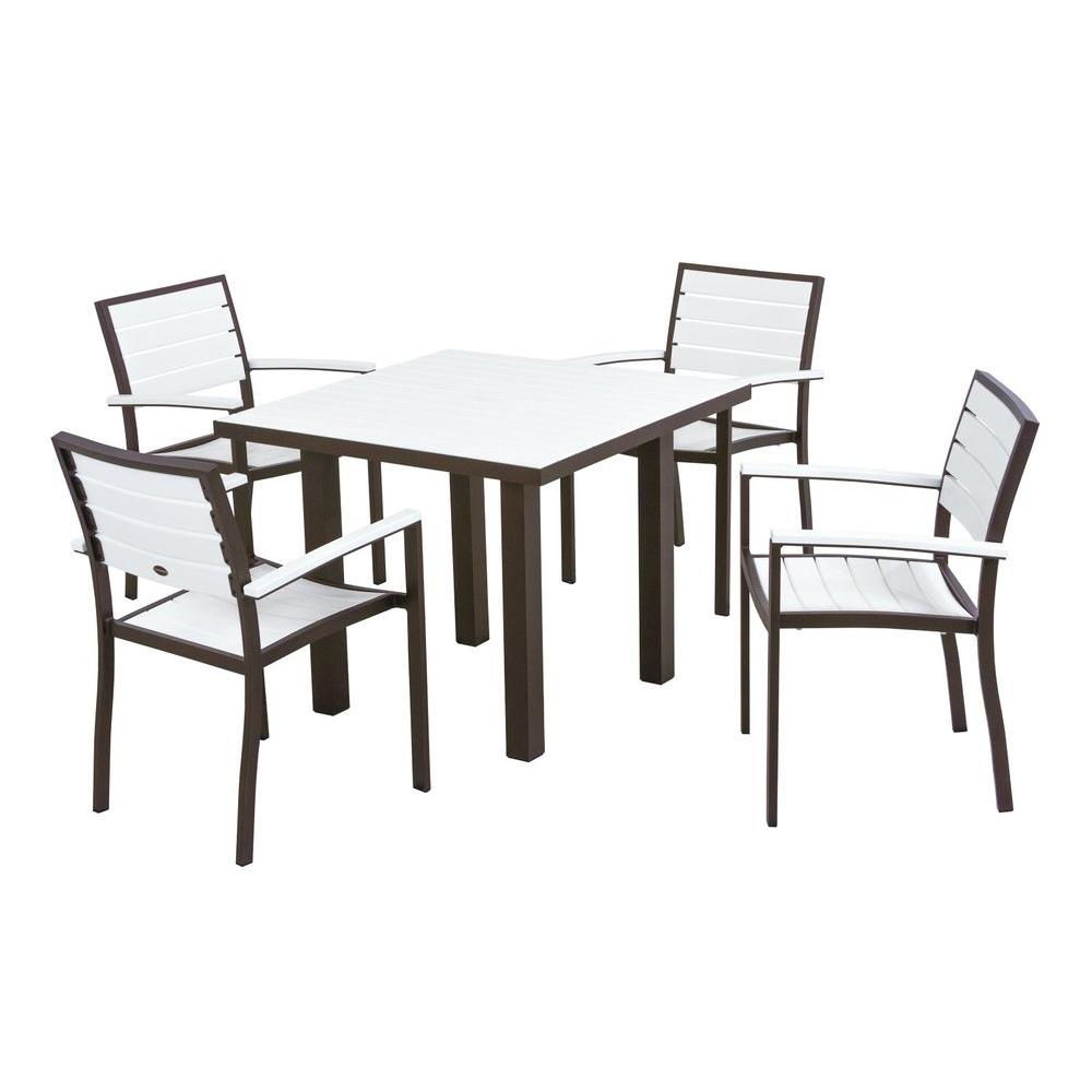 Euro Textured Bronze All-Weather Aluminum/Plastic Outdoor Dining Set in White