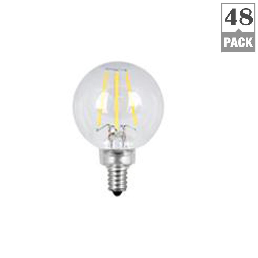 40W Equivalent Soft White (2700K) G16.5 Candelabra Dimmable Filament LED Clear
