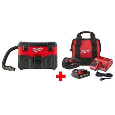 M18 18-Volt 2 Gal. Lithium-Ion Cordless Wet/Dry Vacuum Starter Kit with One 5.0 Ah and One 2.0 Ah Battery, Bag, Charger