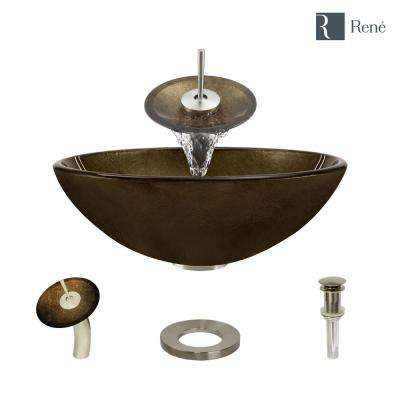 Glass Vessel Sink in Regal Bronze and Earth Tones with Waterfall Faucet and Pop-Up Drain in Brushed Nickel