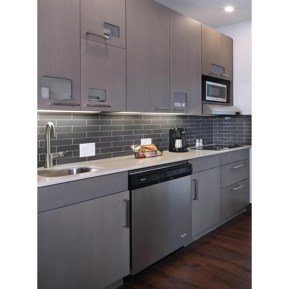 MSI Metallic Gray 4 in. x 12 in. Gl Wall Tile (5 sq. ft. / case) on gray and white kitchen cabinets, backsplashes for gray cabinets, granite countertops for gray cabinets, dark-gray kitchen cabinets, backsplash ideas for fireplace, tiles for gray cabinets,
