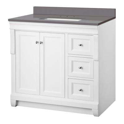 Naples 37 in. W x 22 in. D Vanity Cabinet in White with Engineered Marble Vanity Top in Slate Grey with White Basin