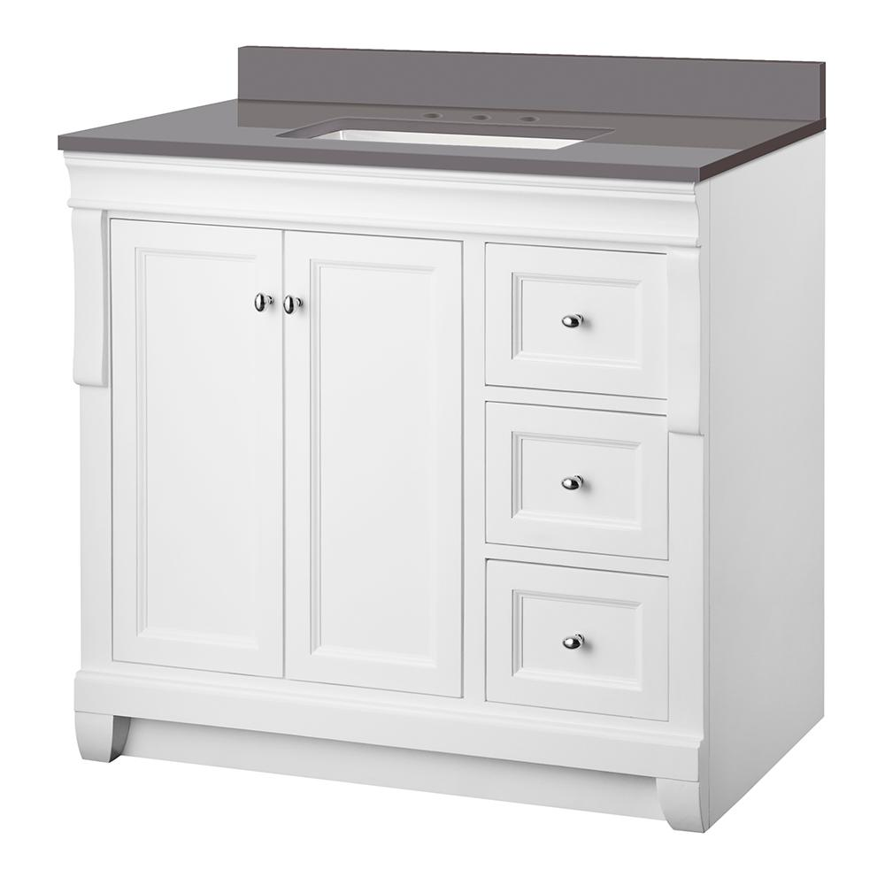 Home Decorators Collection Naples 37 in. W x 22 in. D Vanity Cabinet in White with Engineered Marble Vanity Top in Slate Grey with White Basin was $899.0 now $629.3 (30.0% off)