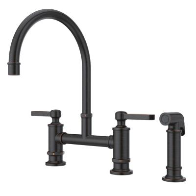 Port Haven 2-Handle Bridge Kitchen Faucet in Tuscan Bronze with Optional Side Sprayer