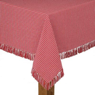 Homespun Fringed 60 in. x 102 in. Red 100% Cotton Tablecloth