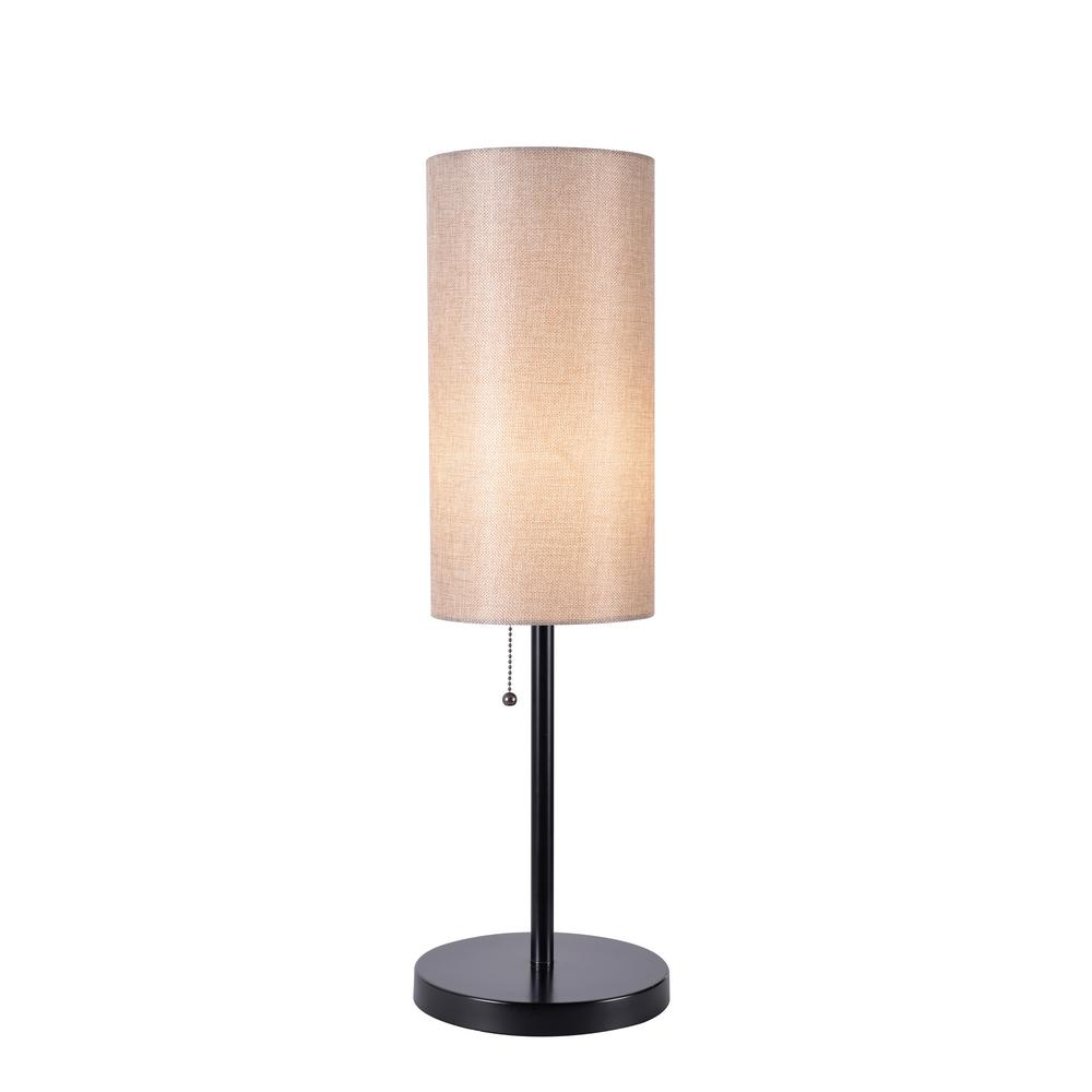 Black Table Lamp With Tan Drum Shade