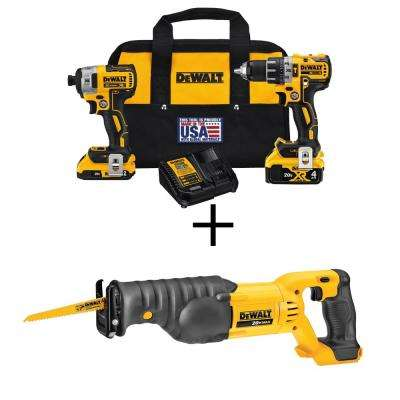 20-Volt MAX XR Lithium-Ion Cordless Brushless Drill/Impact Combo Kit (2-Tool) w/(2) Batteries, Bonus Reciprocating Saw