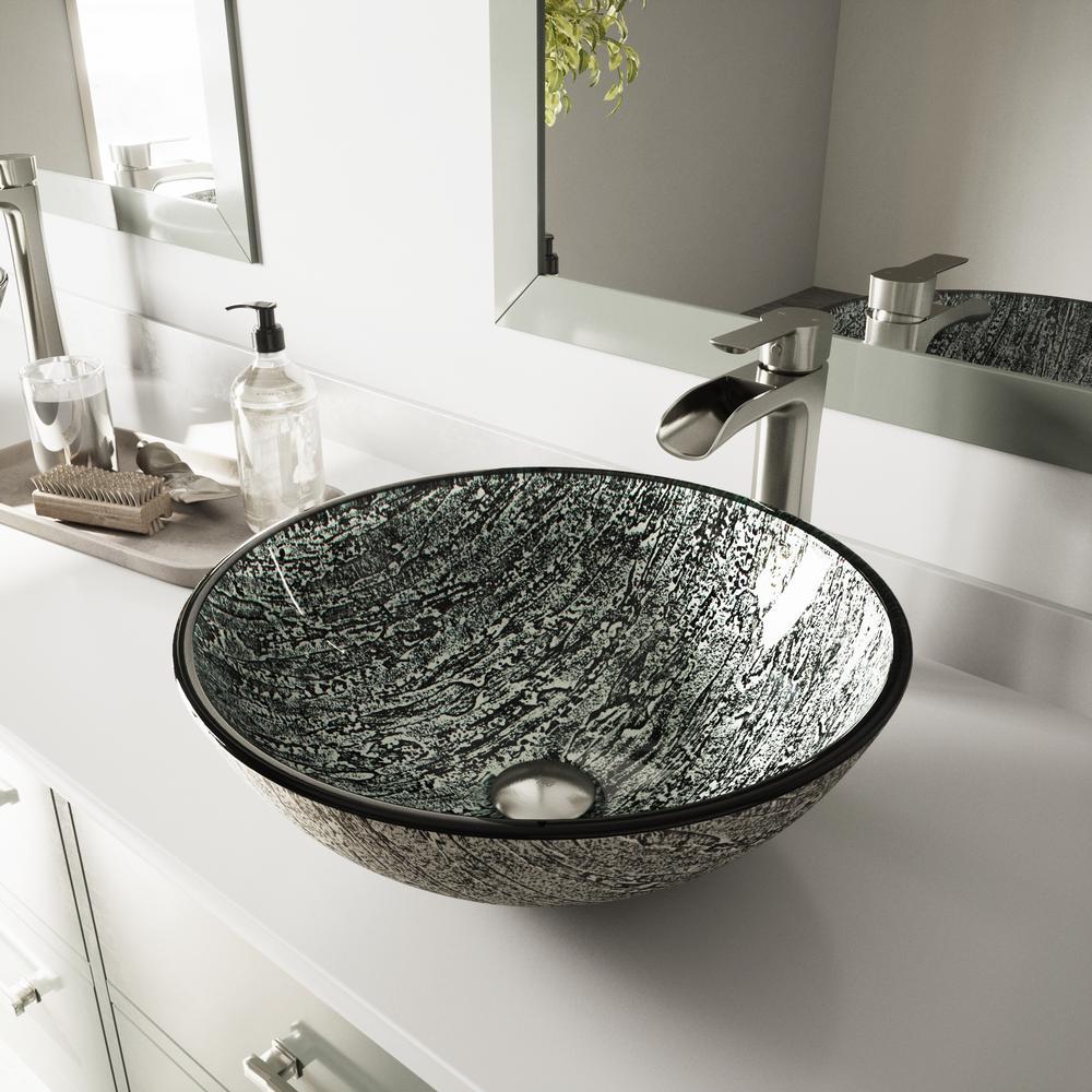 Vessel Sink in Titanium and Niko Faucet Set in Brushed Nickel