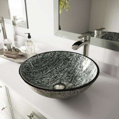 Glass Vessel Bathroom Sink in Titanium and Niko Faucet Set in Brushed Nickel