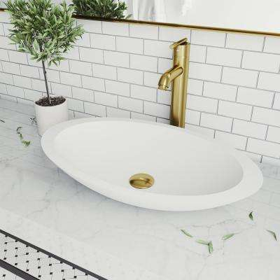 Wisteria Matte Stone Vessel Bathroom Sink in White with Seville Faucet in Matte Gold