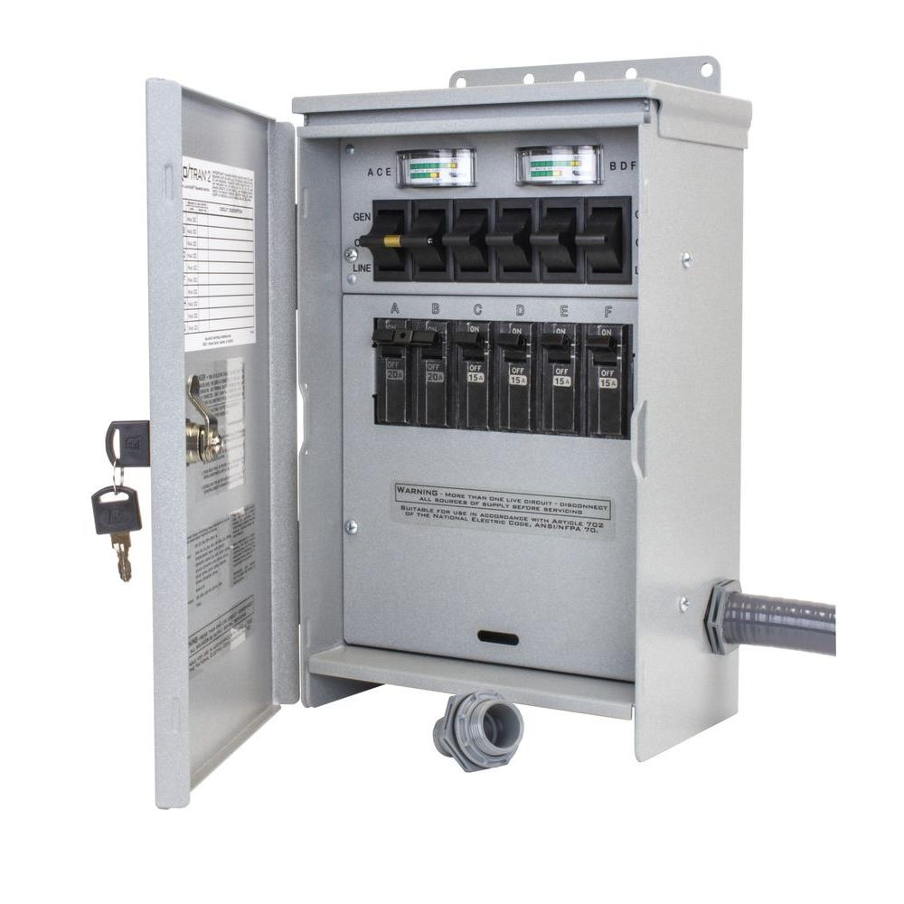 7,500-Watt 30 Amp 6-Circuit Outdoor Transfer Switch