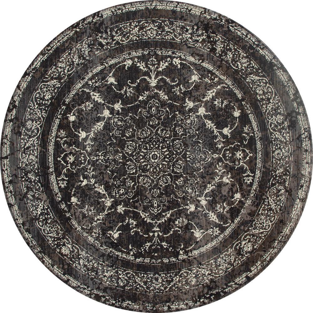 Art Carpet London Treasure Gray 8 Ft. X 8 Ft. Round Area