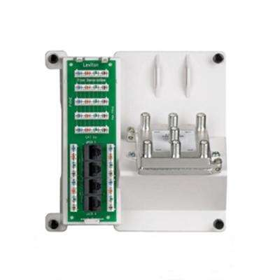 Structured Media 1x4 Combo Bridged Phone and Data Board with 6-Way Video Splitter