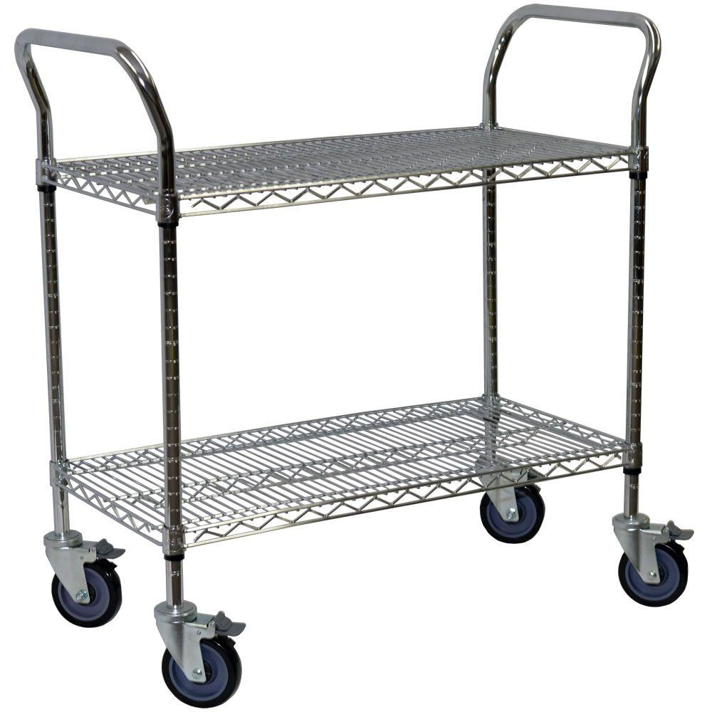 Storage Concepts 2-Shelf Steel Wire Service Cart in Chrome - 39 in H x 48 in W x 24 in D