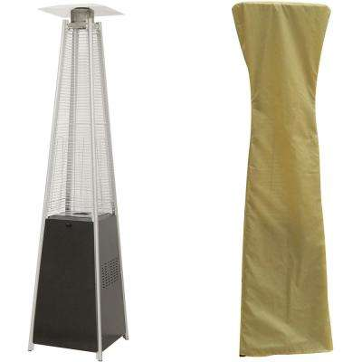 7 ft. 42,000 BTU Black Pyramid Propane Patio Heater with Weather-Protective Cover