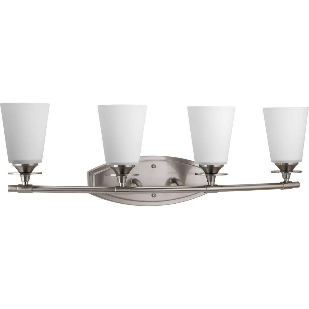 Progress Lighting Cantata Collection 4-Light Brushed Nickel Bathroom Vanity Light with Glass Shades