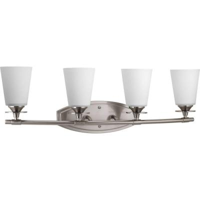 Cantata Collection 4-Light Brushed Nickel Bathroom Vanity Light with Glass Shades