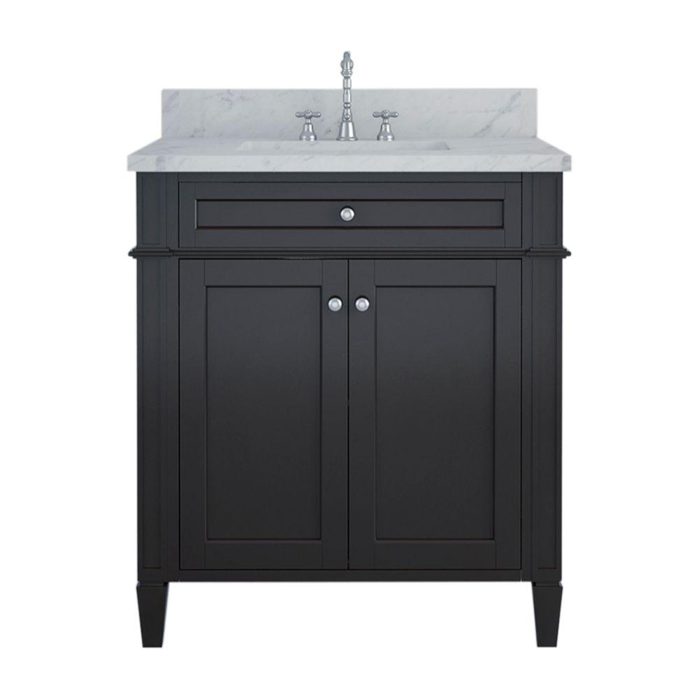Alya Bath Samantha 30 in. W x 22 in. D Bath Vanity in Espresso with Marble Vanity Top in White with White Basin