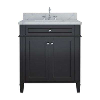 Samantha 30 in. W x 22 in. D Bath Vanity in Espresso with Marble Vanity Top in White with White Basin