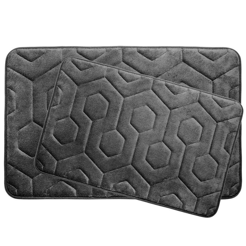 BounceComfort Hexagon Dark Gray 20 In. X 34 In. Memory Foam Bath Mat Set