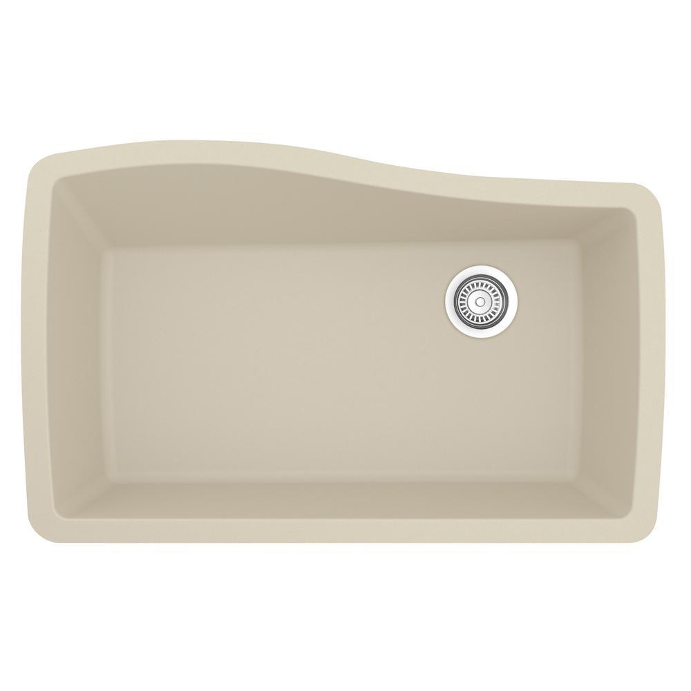 Undermount Quartz Composite 33 in. Single Bowl Kitchen Sink in Bisque