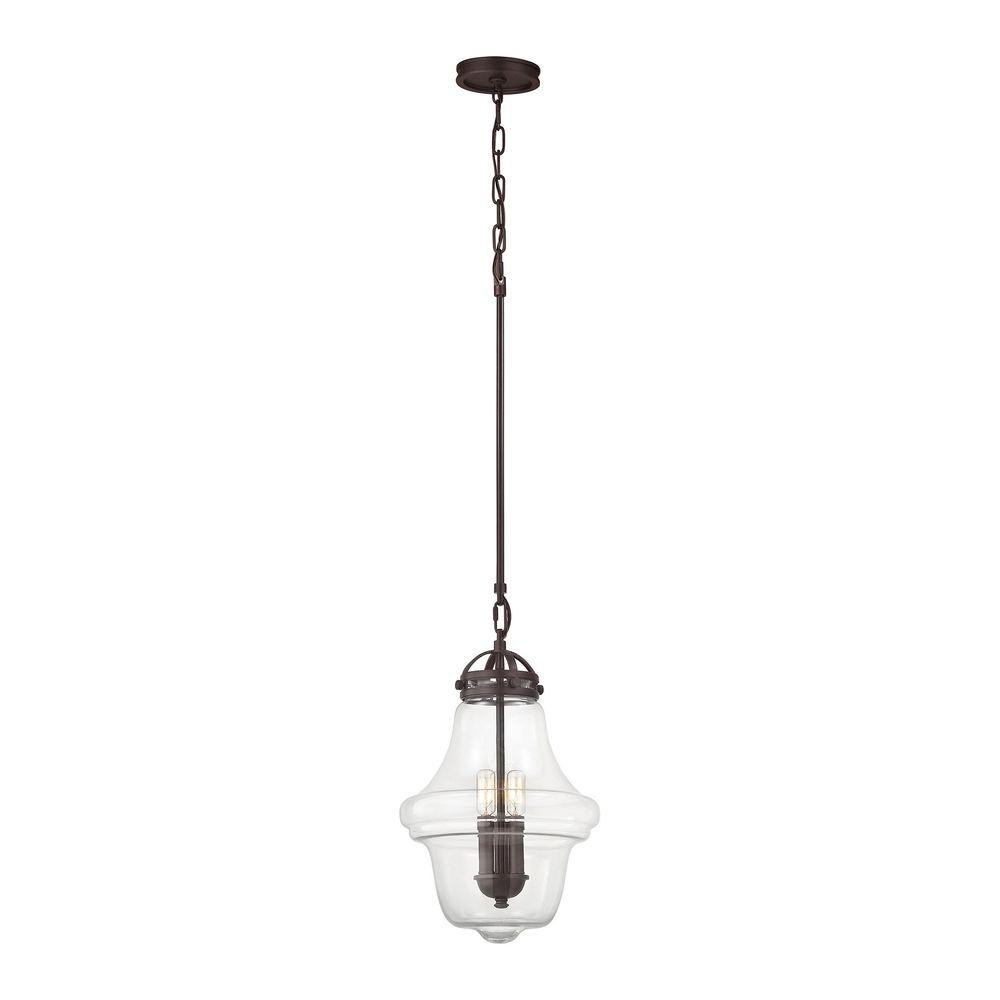 feiss one light oil rubbed bronze clear seeded glass down mi