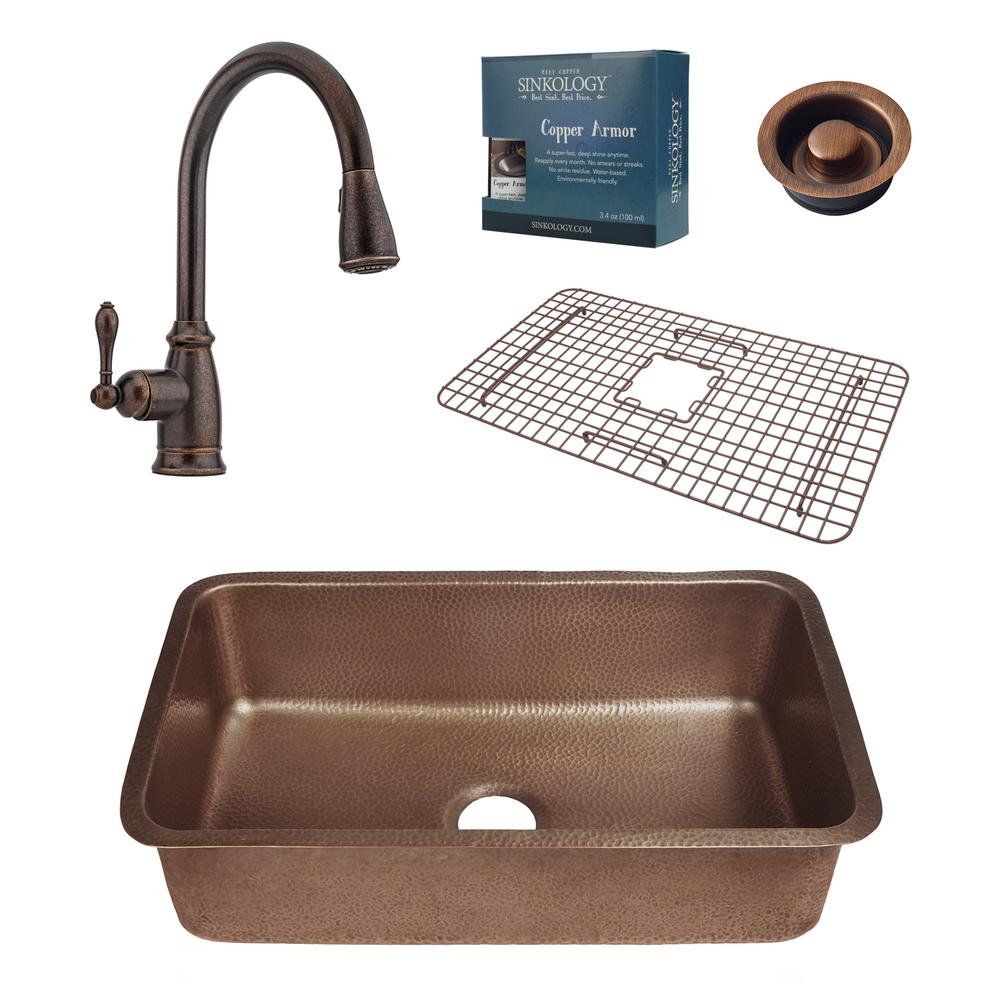 Sinkology Pfister All In One Orwell 30 In Undermount Copper Kitchen Sink Combo With Rustic
