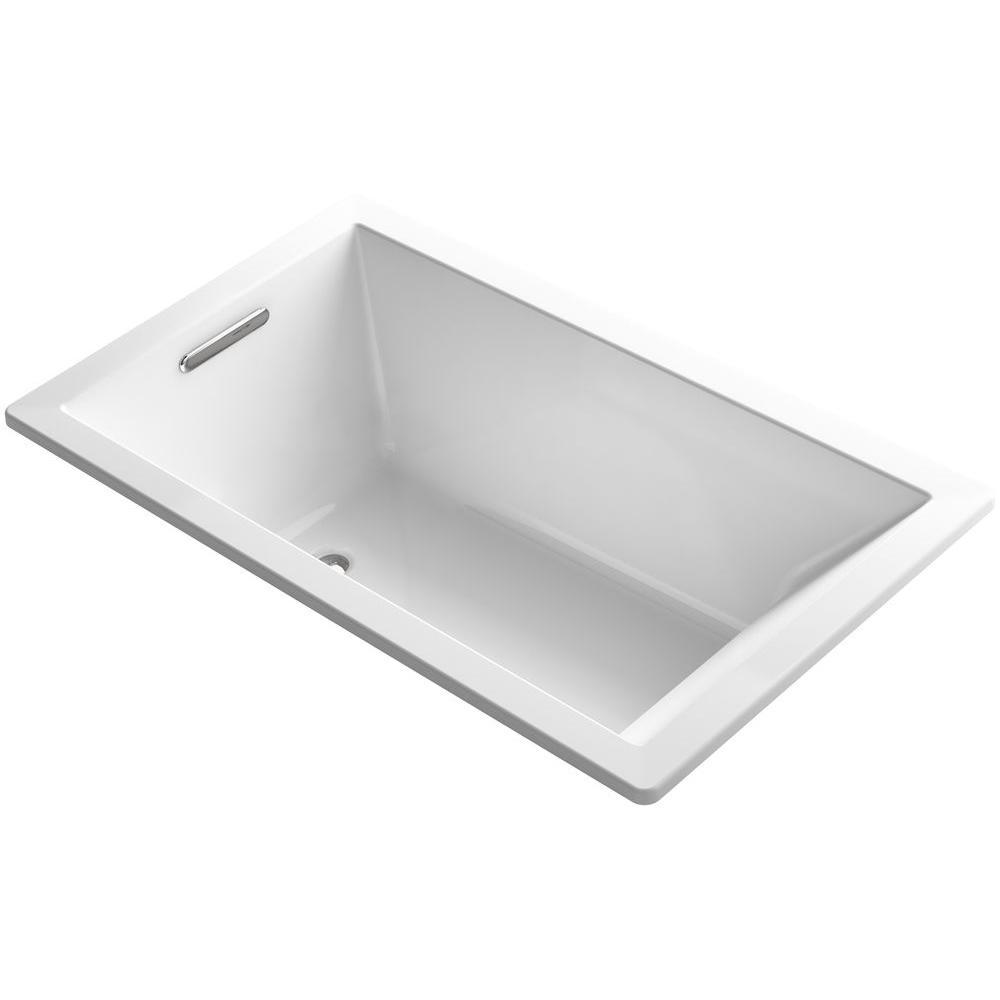 Underscore 5 ft. Drop-In Reversible Drain Rectangular Alcove Soaking Tub in White