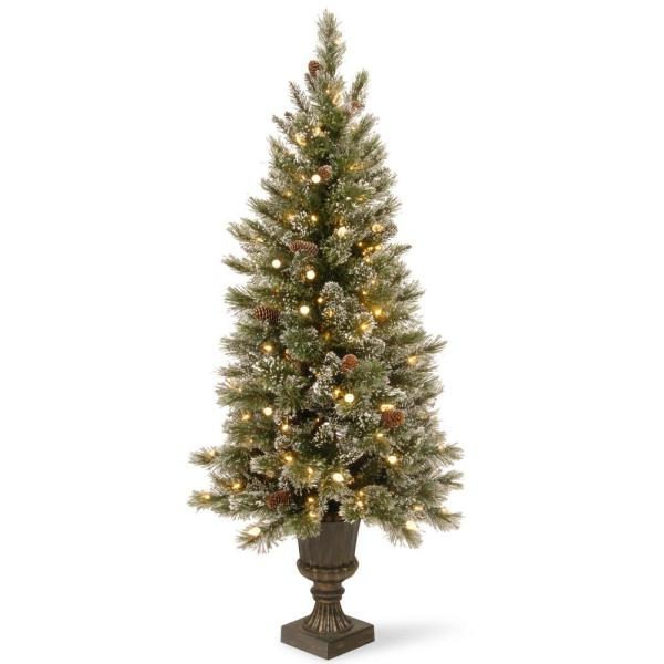 4 ft. Glittery Bristle Entrance Artificial Christmas Tree with Warm White LED Lights