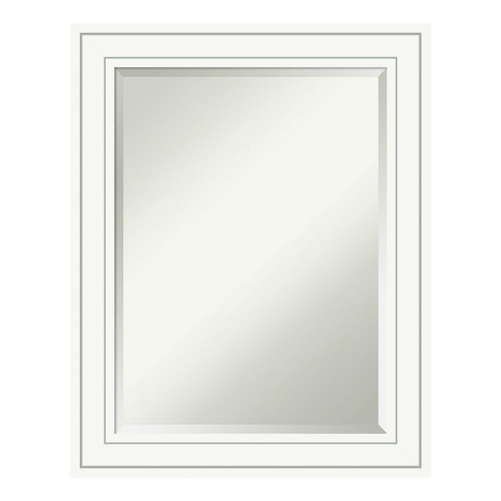Craftsman 23 in. W x 29 in. H Framed Rectangular Beveled Edge Bathroom Vanity Mirror in White