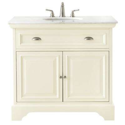 Sadie 38 in. W Vanity in Matte Pearl with Marble Vanity Top in White with White Sink