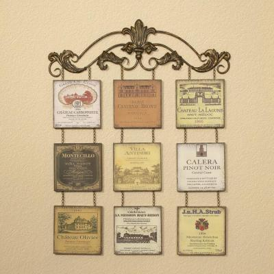 Multicolored Antiqued Wine Label Metal Work Wall Decor