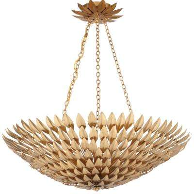 Broche 8-Light Antique Gold Chandelier