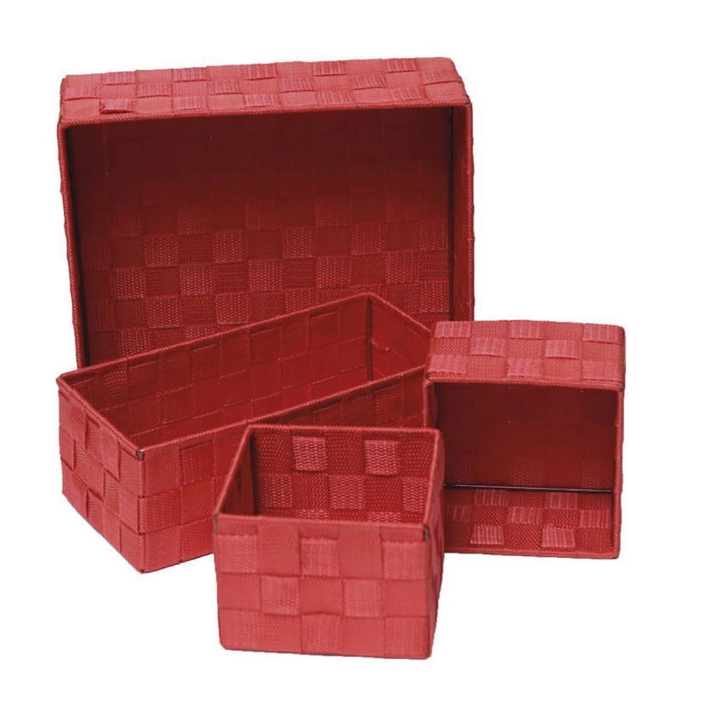 11 in. L x 11 in. W x 3.12 in. H Checkered Woven Strap Storage Utilities Shelf Baskets Storage Red (Set of 4)