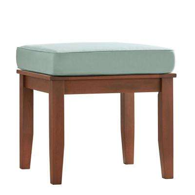 Verdon Gorge Brown Rectangle Oiled Wood Outdoor End Table with Blue Cushion