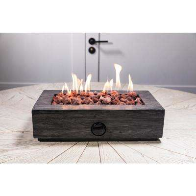 17.1 in. x 6.6 in. Rectangular Cement Gas Fire Pit Faux Wood Tabletop