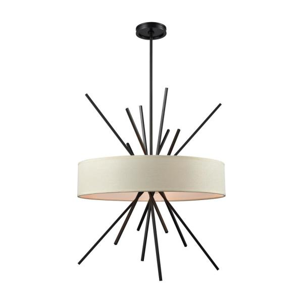 Xenia 5-Light Oil Rubbed Bronze Chandelier with Beige Fabric Shade