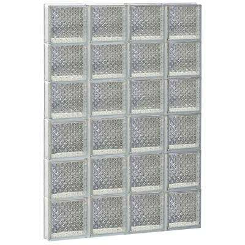 31 in. x 46.5 in. x 3.125 in. Frameless Diamond Pattern Non-Vented Glass Block Window
