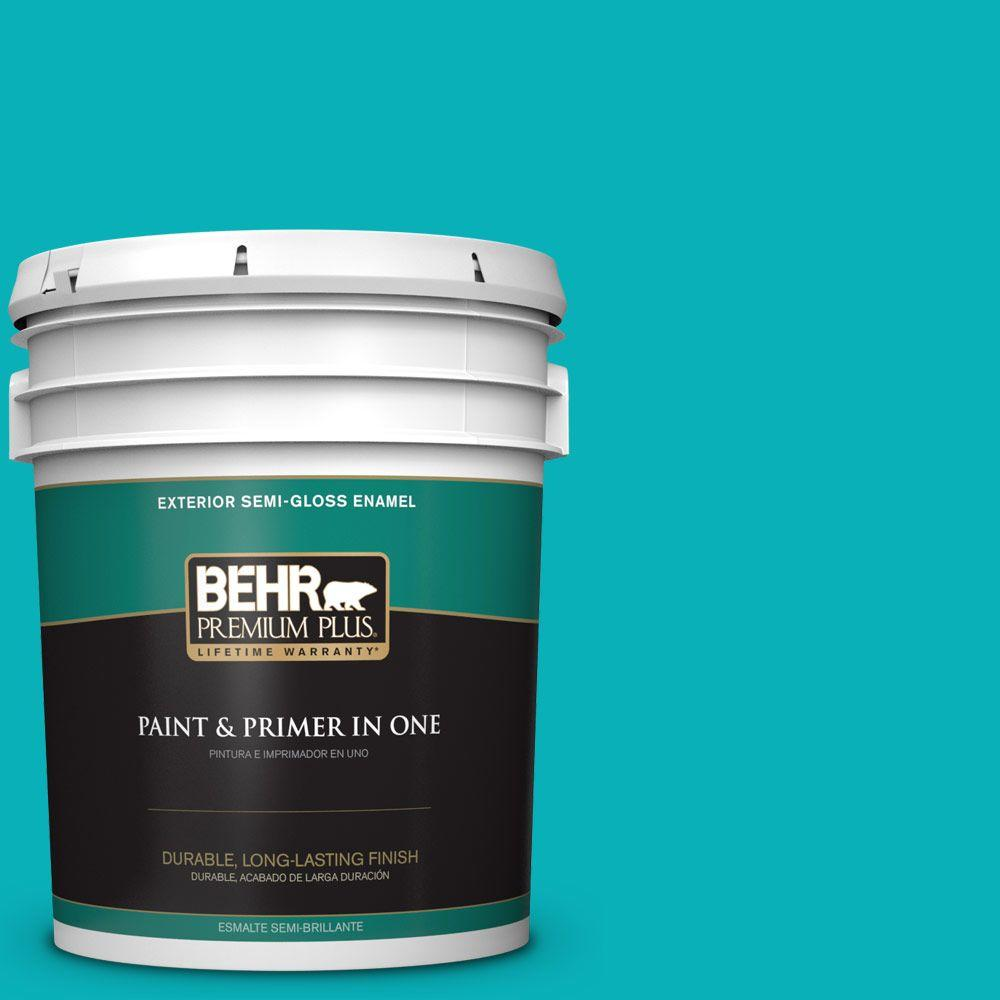 BEHR Premium Plus 5-gal. #500B-5 Mermaid Treasure Semi-Gloss Enamel Exterior Paint