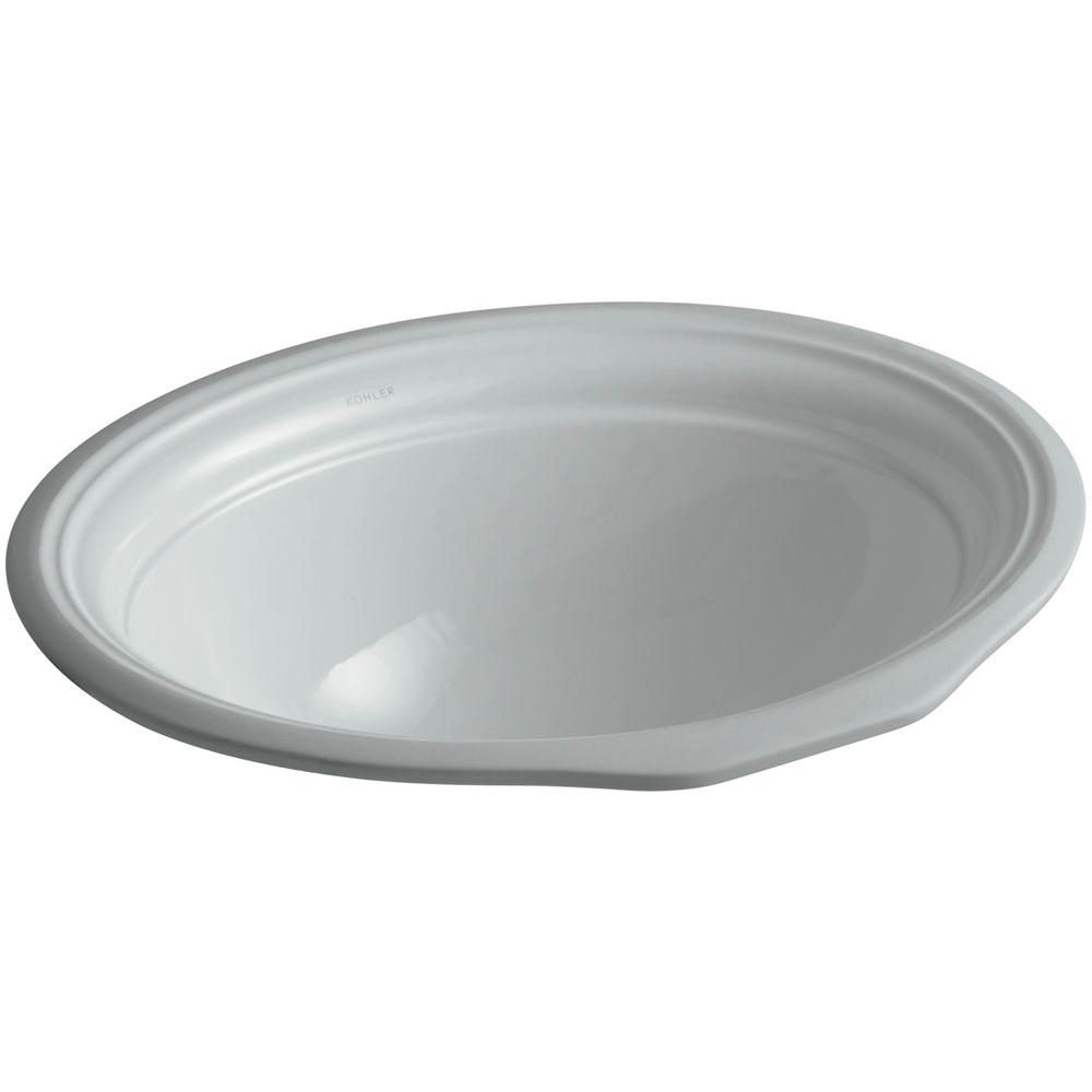 Devonshire Vitreous China Undermount Bathroom Sink in Ice Gray with Overflow
