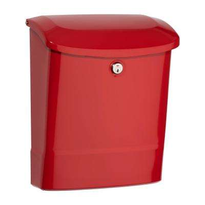 Parkside Locking Wall Mount Mailbox Red