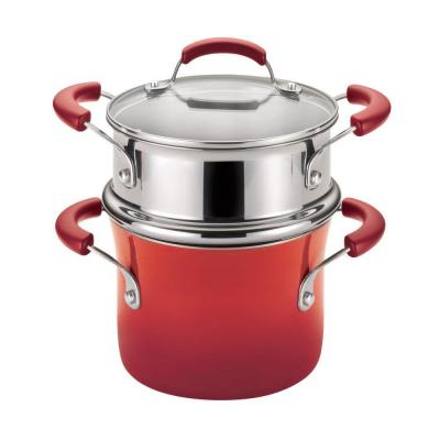 Classic Brights 3 qt. Aluminum Multi-Pot in Cranberry Red Gradient with Glass Lid