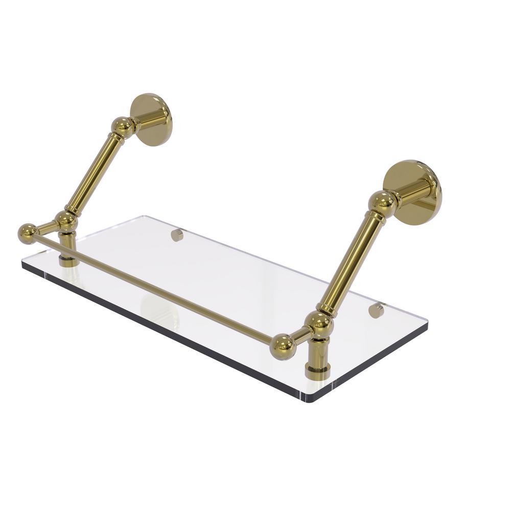 Prestige Skyline 18 in. Floating Glass Shelf with Gallery Rail in Unlacquered Brass