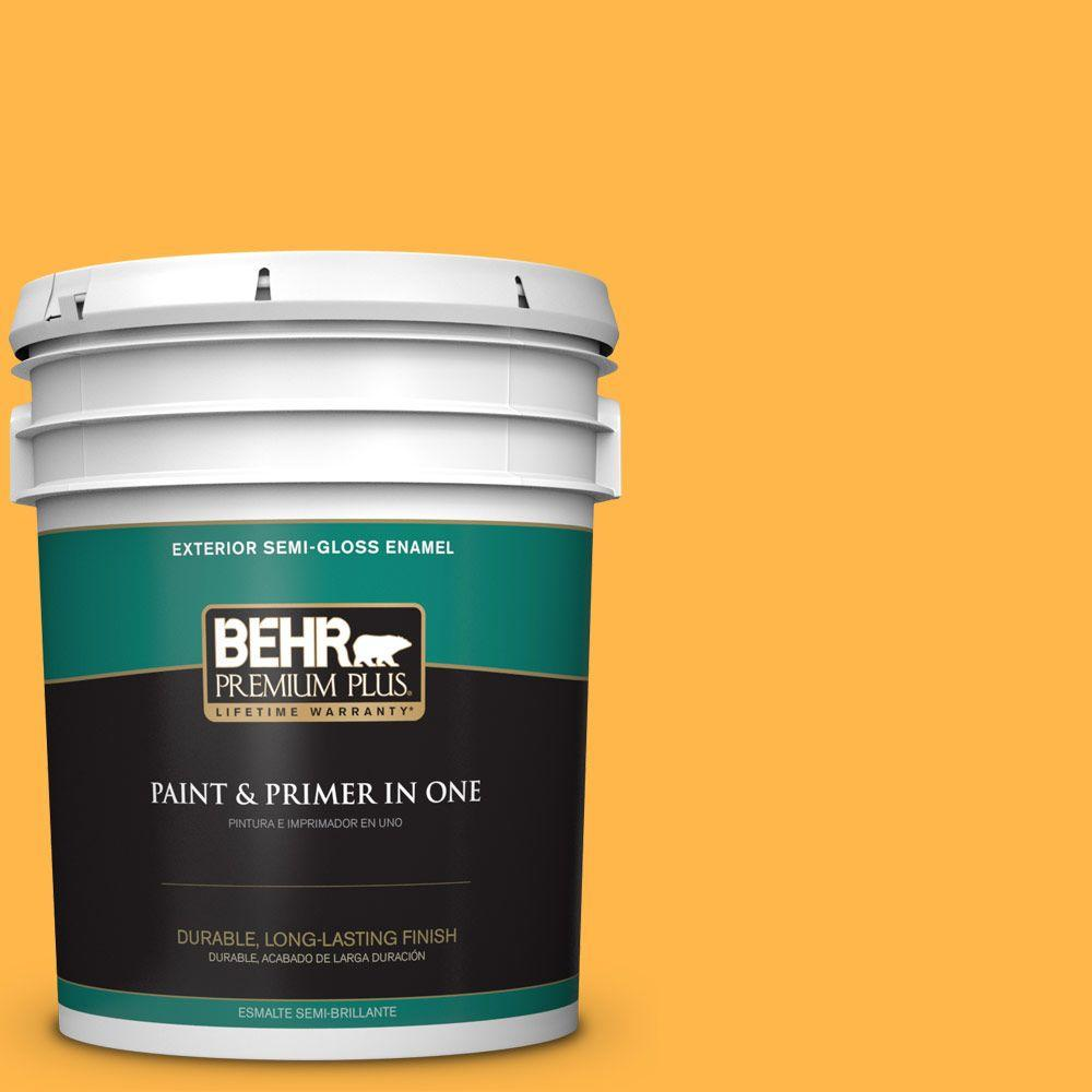 BEHR Premium Plus 5-gal. #300B-6 Glorious Gold Semi-Gloss Enamel Exterior Paint