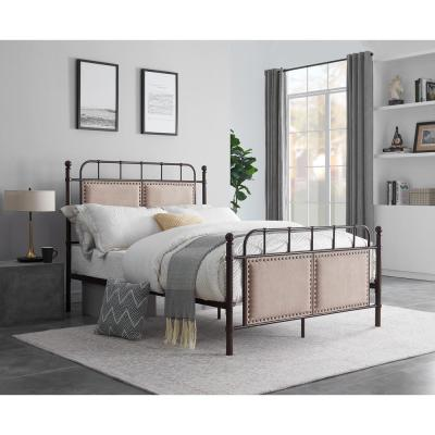 78.75 in. Chocolate Metal Bed Frame Full Size with Headboard and Footboard Platform, Metal Tube and Modern Iron-Art Bed