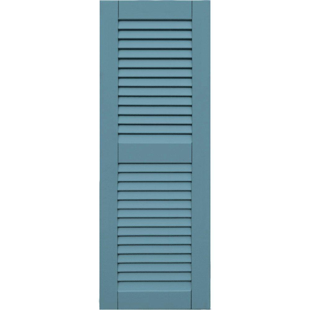 Winworks Wood Composite 15 in. x 42 in. Louvered Shutters Pair #645 Harbor