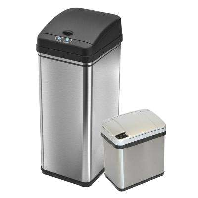 13.2 Gal. and 2 Gal. Touchless Infrared Sensor Automatic Stainless Steel Trash Can Combo
