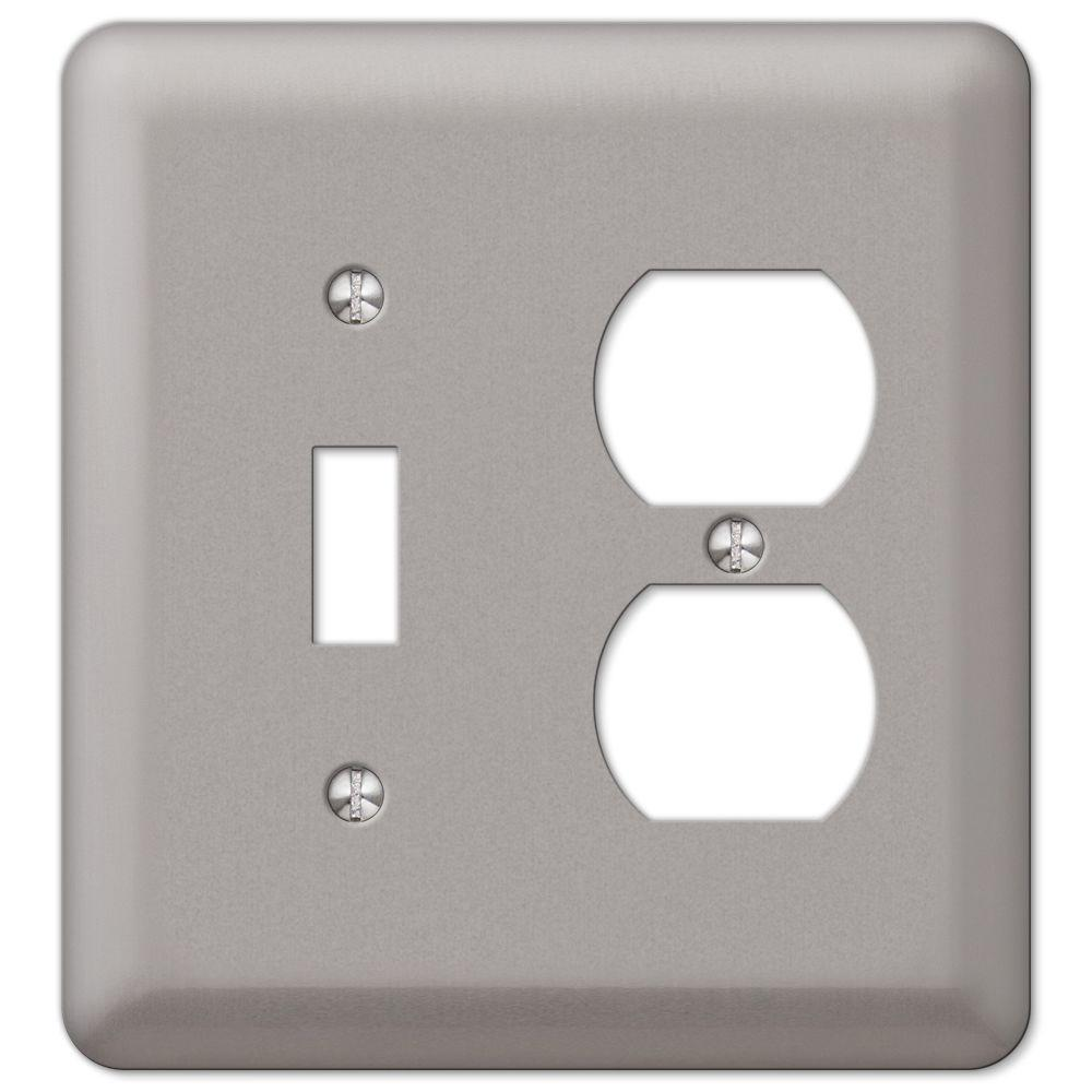 Amerelle Steel 1 Toggle 1 Duplex Combination Wall Plate - Pewter